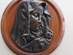 Nagyon szép bronz Szűz Mária profil relief kerek fa kereten, falra akasztható
