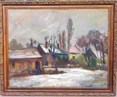 Ifj. Dombrovszky Szaniszló (1928-2004): Téli utcarészlet
