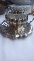 Diannás jelzésü ezüst kávés pohár aljal