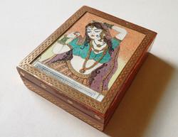 Ritkaság! Régi különleges indiai réz veretes fa doboz fadoboz drágakő féldrágakő ásvány kép festmény