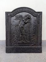 Antik kandalló mögé való öntött vas öntöttvas hátfal 18.-19. század kályha angyal gyűjtői ritkaság