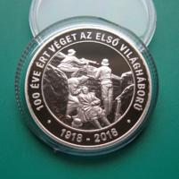 2018 - Az I. világháború befejezésének évford. - ezüst PP 10000 Ft - kapszulában, certi + ismertető