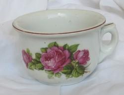 Régi virágmintás, rózsás  porcelán komacsésze, 8 cm magas, átmérő 11,5 cm