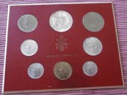 Ezüst Vatikán Forgalmi sor 1970 1 Líra-500 Líra eredeti tartóban