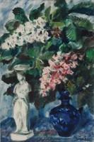 Imre István - Virágcsendélet 67 x 46 cm-es csodálatos akvarellje 1961-ből