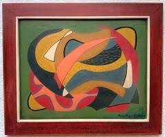 Szép, jelzett absztrakt festmény