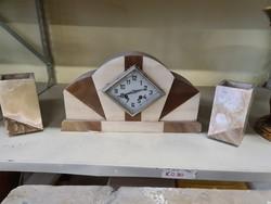 Francia art deco márvány kandallóóra szettek gyertyatartóval