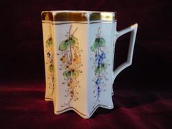 Antik aranyozott, kézzel festett kecses csokoládés csésze 200618