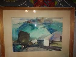 """Koncz Zoltán, 1915-1995, Újfehértó, """"Nyírségi őslàp"""", akvarell festmény"""
