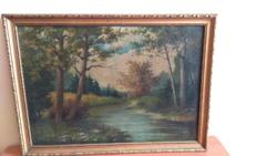 Antik tájkép festmény 40x54 cm kerettel