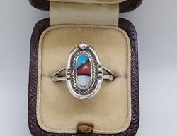Zuni Indián -USA- Türkiz Koráll Kagyló Berakásos Gyűrű