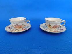 Zsolnay Pillangó mintás kávés csésze + alj pár