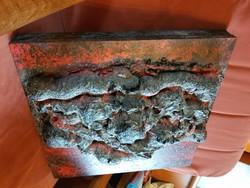 Dombormű deszkaalapon, ismeretlen alkotó, kb.45x45, 3 kiló