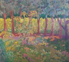 MÁRTONFI BENKE MÁRTA: Inászói fasor (80x71 olaj-farost) fák, természet, tájkép