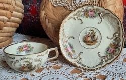 Rosenthal  antik német vékony porcelán kávés/teás csésze aljával, XX.szd első fele, teljesen új