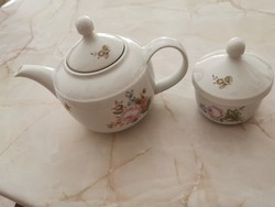 Német kahla porcelán teás kancsó és cukor tartó