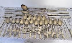 45 db-os ezüstözött alpakka, alpakka evőeszköz gyűjtemény