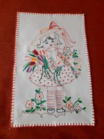 Retró! Kézimunka Falvédő hímzet terítő, kislány mintával.