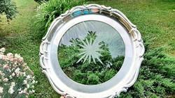 Csiszolt üvegbetétes antik ezüstözött tálca