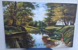 Nagy méretű  tàjkép Olaj-vàszon festmény,Erdőrészlet tó vagy folyó modern alkotás Szignàlt, Berényi