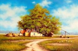 POTOM ÁRON Kunsági tanyán 40x60cm olajfestmény