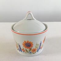 Régi, retro Hollóházi porcelán, színes virágos, virágmintás cukortartó, fedeles tároló