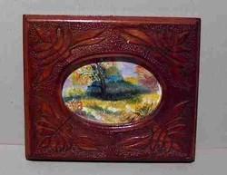 Miniatűr festmény, olaj, gyönyörű faragású keményfa keretben