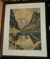 Ismeretlen festő (20.sz.közepe)  -  Alpesi tó  (akvarell)