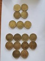 Euró 20 centek 17db 3 országból