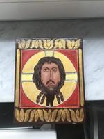 Fa lapra kézzel festett ikon