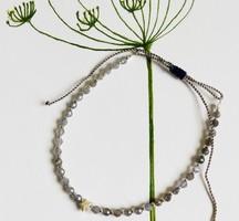 Állatható karkötő vízzafírral/iolittal ezüsttel és galvanizált ezüst miyuki gyöngyökkel