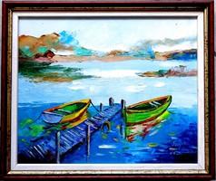 SZÉP ÚJ KERETBEN-- MÓLÓNÁL--Olajfestmény,festőkéssel,vastag festékréteggel.