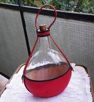 Retro borosüveg 32 cm, lapos, hasas műbör tokban, palack