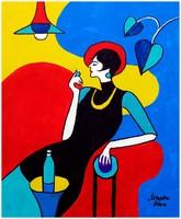 Sztopka Anna:--KÉK KLIPSZ--modern,art deco festmény