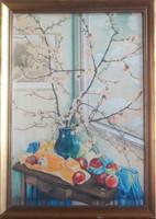 MÓRICZ MARGIT: Cseresznyevirág almákkal (akvarell csendélet kerettel 61x43) Vaszary János tanítványa