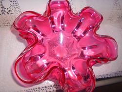 Nagyon szép Bohémia súlyos  (2393 g )vastag üveg tál