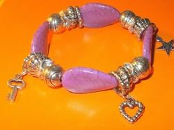Márványos Gyöngy Tibeti Ezüst Karkötő - Pandora stílusú