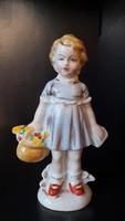 Régi német Lippelsdorfi porcelán: kislány virágkosárral