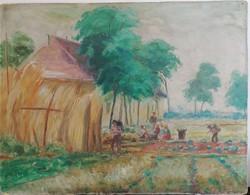 Klímó István(1883-1961): Dinnyeszüret. Jelzett olajfestmény.