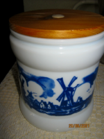 Delft  fűszertartó tejüveg tároló  szélmalmos