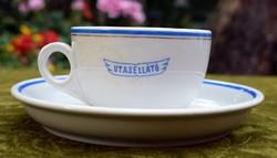 Antik jelzett Zsolnay porcelán utasellátó csésze + kis tányér