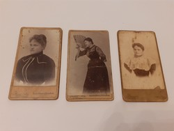 Antik női mini fotó Herz Braun Budapest műtermi fénykép 3 db