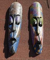 Fából faragott  - festett- - kínai fali maszk pár - fél méteresek