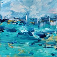 ARANYPART Absztrakt festmény,Szignózott,Közvetlen a művésztől!