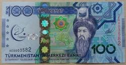 Türkmenisztán 100 Manat 2017 UNC