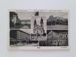 Régi képeslap Pápa kastély templom tanítóképző nevelőintézet fürdő levelezőlap