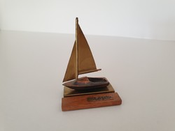 Retro régi hajó Balaton feliratos réz balatoni vitorlás emléktárgy emlék