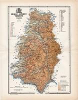 Krassó - Szörény vármegye térkép 1897 (4), lexikon melléklet, Gönczy Pál, 23 x 30 cm, megye, Posner