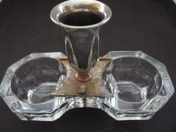 Antik lapra csiszolt asztali sótartó ezüstözött fogpiszkáló tartó résszel