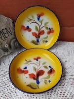 Gyönyörű  Budafoki virágos zománcos, Zománcozott tányérok, Gyűjtői darabok, nosztalgia